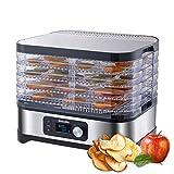 5 Bandejas Deshidratador Alimentos Recetas gratis Temperatura Ajustable 35~70℃, ajuste manual de tiempo y temperatura. Libre de BPA