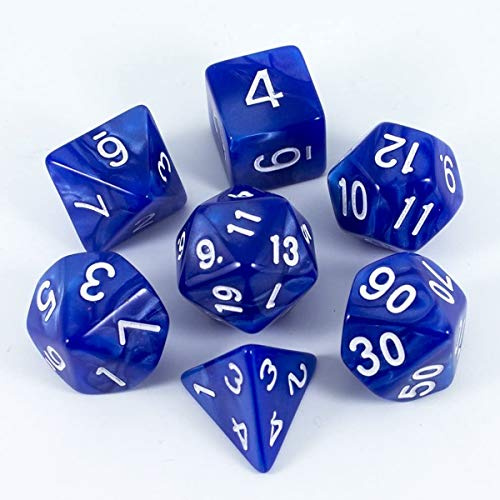 BOBOZHONG Polyedrische Würfel,7pcs DND Würfel Set Layered Polyhedral D & D Würfel für Dungeons and Dragons RPG MTG Tischspiele(Blau