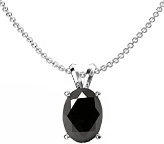 14K 9x7 mm Oval Cut Ladies Solitaire Pendant (Silver Chain Included), White Gold