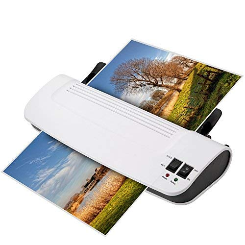 Zoomyo laminator machine, with short warm-up time, incl. 30 laminating pouches in A4, A5, and credit-card sizes, PTC eco-technology reduces power consumption by up to 75%, two roller system, white