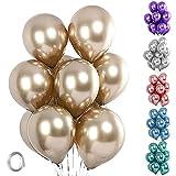 Unisun Globos metálicos, 20pcs grosor, cromados metalizados, color champán, dorado y helio brillante para cumpleaños, baby shower, boda, aniversario, festival, carnaval, decoración