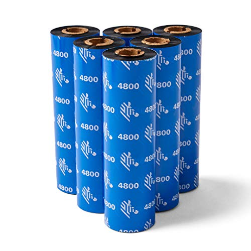 Zebra Premium Black Resin Ribbon for Thermal Transfer Desktop Printers 4.33 in Wide 242 ft Long 0.5 in Core 6 Rolls 10031728SP
