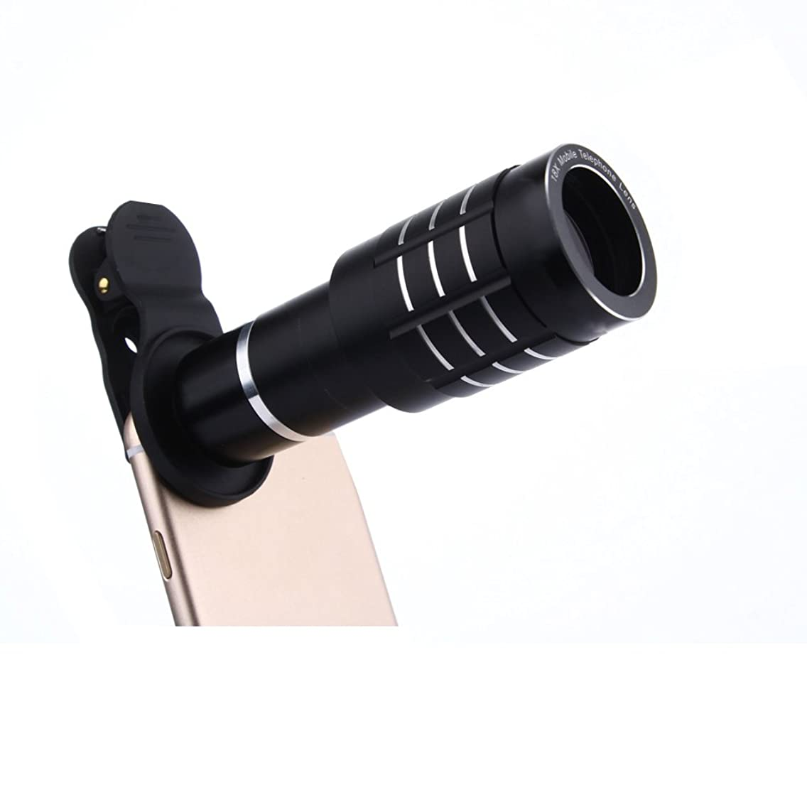 Jaylinna Universal HD 12x Phone Monocular Phone Camera Lens Phone Telescope Zoom Lens with Tripod for Iphone,Samsung,Huawei,Sony and More(Black)