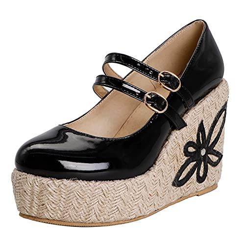 Seitehuud Damen Vintage Plateau Pumps Mary Jane Schuhe Keilabsatz Schuhe mit Absatz Blume Party Schuhe Black Große 39 Asiatisch