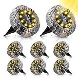 ZumYu Luz LED Solar Exterior, 8Pcs 10LEDs Focos Led Exterior Solares, IP65 Impermeable Decoracion Suelo Jardin, Solar Iluminación Exterior Amarilla Cálida para Camino, Calzada, Césped, Escalón