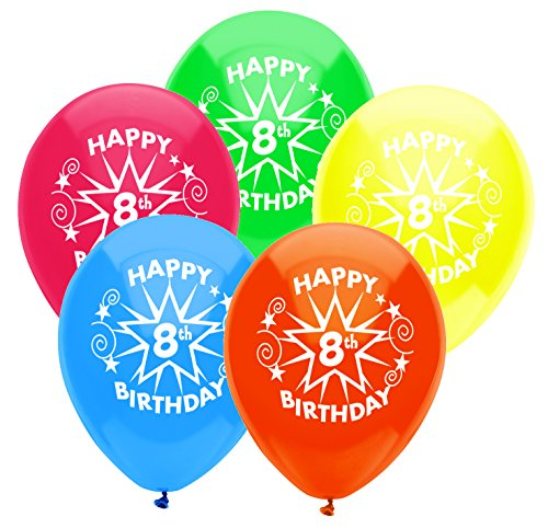 PartyMate 8th Birthday Star Printed 12-Inch Latex Balloons, 8-Count, Assorted Standard Colors