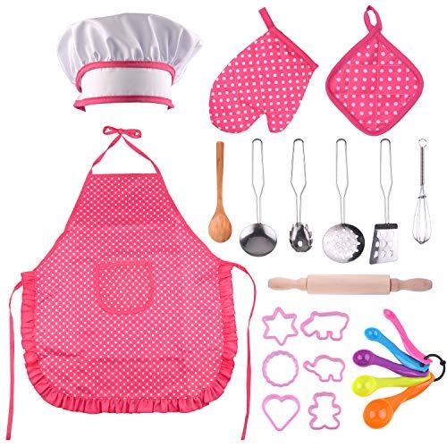 TUPARKA Kochset für Kinder,Küchenkostüm Rollenspiele,Mädchen Schürze mit Kochmütze, Kuchen Backen Lebensmittel Service Schürze Küchenutensilien
