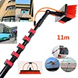 YQ&TL Perche Tige Télescopique Brosse de Nettoyage Solaire Panneaux Fenêtre Nettoyage Kit,3.6M-11M pour Nettoyage Panneaux solaires, Bâtiments De Grande Hauteur Et Les Gros Véhicules 11m