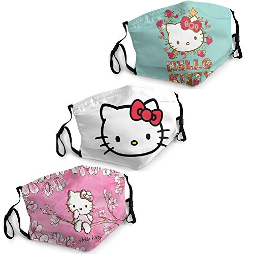 Hello Kitty Face Mask Men Women 3PCS Face Cover Mask with 6 Filters Reusable Adjustable Washables Adults Made in USA White