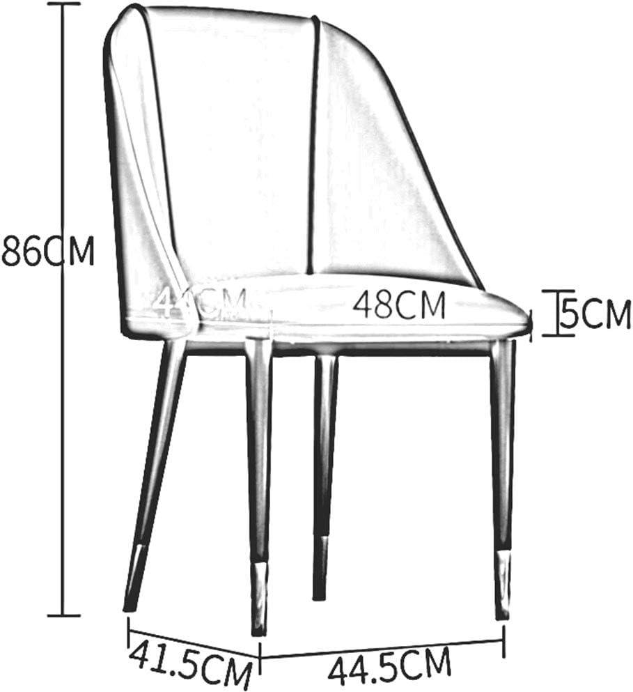 DALL Chaise De Salle à Manger Coussin PU Pieds en Métal Chaise De Canapé De Loisirs Nordique Chaise De Réception avec Dossier Assemblée 44,5 X 41,5 X 86 Cm(Color:Bleu) Marron