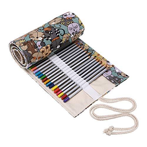 BTSKY Estuche Enrollable para Lápices con 72 Agujeros Cortina de Lápices de Tela de Gran Capacidad Organizador para Envolver Lápices de Colores, Color Café Estampado de Gatos