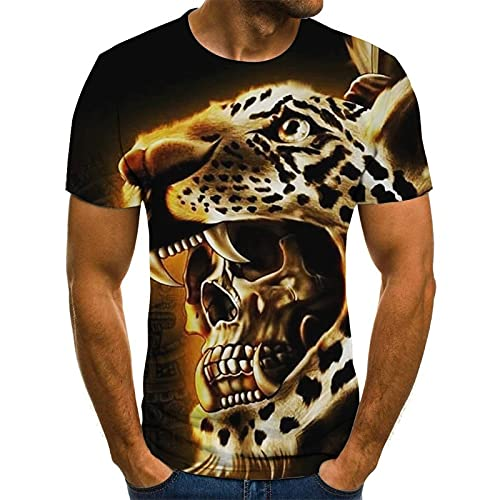 Camiseta de Tigre de Manga Corta Unisex para Padres e Hijos, Negro XXL