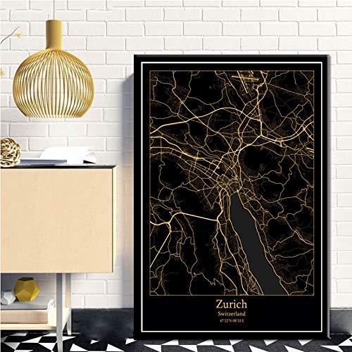 SERTHNY afdrukken schilderijafbeeldingen, Zürich Zwitserland zwart & Amp; Gold City Light Maps Custom Wereld Stadsplan Posters kunstdrukken op canvas in Scandinavische stijl Wall Art Home Decor 70x100cm (27.55×39.37inch)no frame