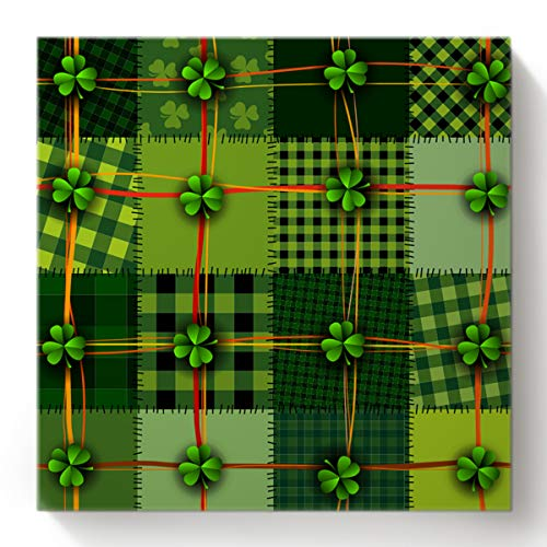 St. Patrick Day Digital Painting, Painting for Home Wall Living Room Bedroom Decoration, Paint by Number Kit for Kids Adults 16x16 Inch Patchwork Style Celtic Quilt Cultural Checkered with Clovers