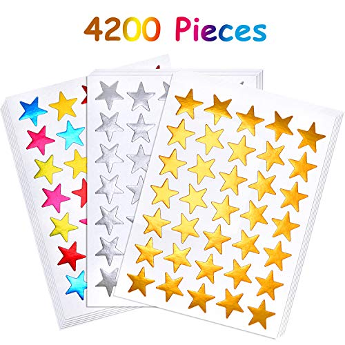 120 Sheets 4200 Count Star Stickers Self-Adhesive Star Stickers Sliver Golden Assorted Colors Reward Star Stickers Labels�for Teachers and Kids
