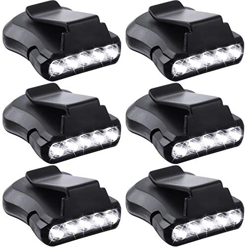 6 Pieces Clip Headlamps 5 LED Rotatable Cap Hat Light LED Ultra Bright Hands Free Headlamp Flashlight LED Clip on Cap Lights Waterproof Cap Visor Light for Hunting Camping Fishing Black