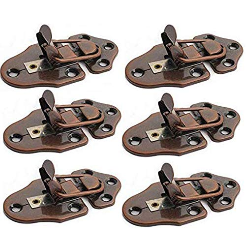 Lheng Metal Table Locks Dining Training Table Buckles Connectors Table Leaf Hardware Accessories Iron Red Bronze Plating 6Pcs
