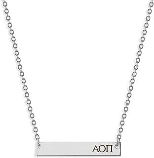 A-List Greek Alpha Omicron Pi Sorority Bar Stamped Necklace