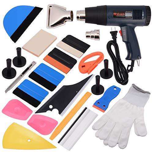 Ehdis Window Tinting Kit for Car Vinyl Wrap Tool Set Include Felt Squeegee, Vinyl Cutter, Razor Scraper,Magnet Holder, Anti-Slip Gloves and Heat Gun