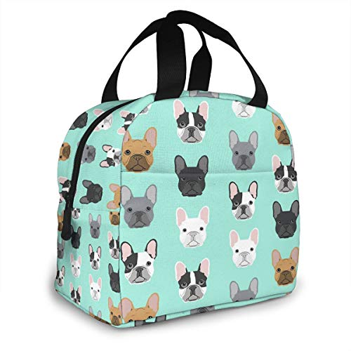 French Bulldog Cute Dog Insulated Lunch Bag Portable Thermal Cooler Box Reusable Picnic Tote Bento Bag For Men Women Kids Work School Travel