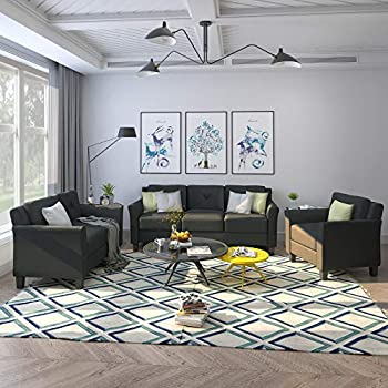 Harper & Bright Designs 3-Piece Living Room Sectional Sofa Set Modern Style Button Tufted Upholstered Chair Loveseat Sofa Set Sectional Couch Black