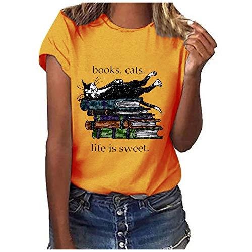 MEITING Damen T-Shirt Kurzarm Sweatshirt Kurzarmshirt Druck Pullover Bluse Top Oberteile Casual Shirt Rundhals Lose Oberteil Tunika Tops Sommer Tee Shirts Camping Tshirt