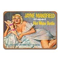 1955年ジェーンマンスフィールド型湯たんぽ看板、金属壁ポスターブリキ看板ヴィンテージバーベキューレストランディナールームカフェショップの装飾8x12インチ