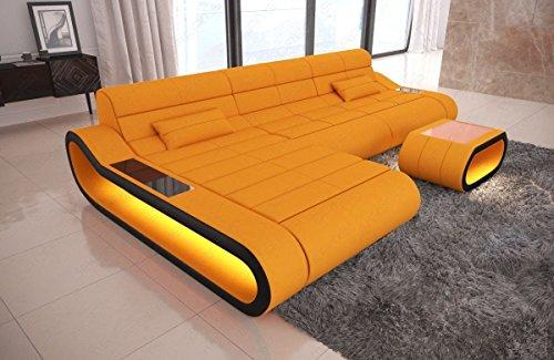 Sofa Dreams stoffen sofa Concept in L van als hoekbank met licht en ottoman