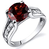 Garnet Solitaire Style Ring Sterling Silver 2.50 Carats Size 7