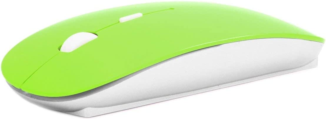 Cali Accessories Mouse Ultra Thin USB Optical Wireless 2.4G Receiver Super Slim for Computer PC (Green)