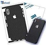 Carbon Fiber Skin 3M 1080 wrap iPhone Protector Skin Around Edges Cover Black Skin for iPhone 7, 7 Plus, 8, 8 Plus, X, XR, Xs Max (iPhone XR)