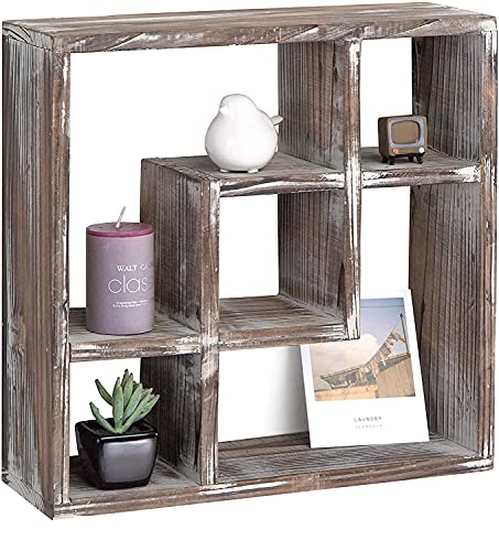 J JACKCUBE DESIGN Rustic Cube Storage Wood Shadow Box Display case 5 Compartments Wall Mount or Freestanding Box Shelves for Bathroom, Kitchen, Bedroom, Living Room -MK510A