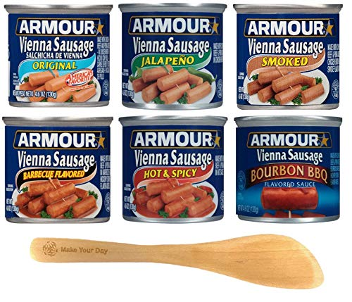 Armour Vienna Sausage, Original, Jalapeno, Smoked, Barbecue Flavored, Hot & Spicy, and Bourbon BBQ, 4.6 Ounce Cans (Pack of 6) - with Make Your Day Mini Spatula
