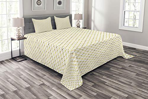 ABAKUHAUS Narzuta w kształcie ryby szopy, ombre Waves, zestaw poszewek na poduszki nadające się do prania, do łóżek dwuosobowych 220 x 220 cm, biało-żółta