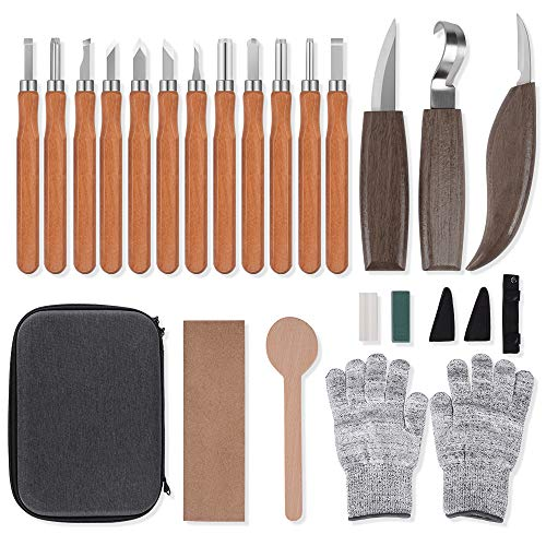 Wood Carving Tools Knife Set, Carbon Steel Graver, Hook Carving Knife, Whittling Knife, Detail Wood Carving Knife for DIY Sculpture Carpenter Experts Kids Beginners