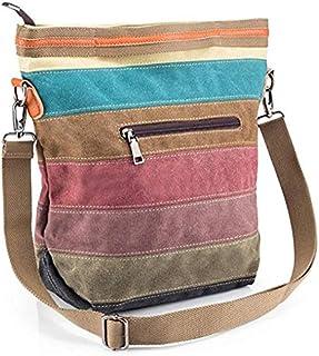 Rubik Cross Body Shoulder Purse Bag, Multi-Color Striped Canvas Tote Handbag for Women Work Travel Daily Shopping