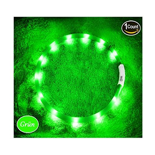 KABB LED Hundehalsband, USB wiederaufladbar Nacht-Sicherheit Hunde Halsband Längenverstellbareres Hunde Halsband mit DREI Beleuchtungsmodi für Hunde, Grün