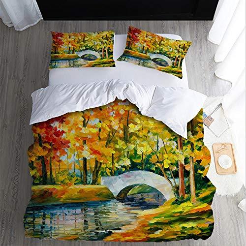 Duvet Cover Set Double-Landscape-small bridgeZipper Closure with 2 Pillow covers Bedding Set Ultra Soft Hypoallergenic Microfiber Quilt Cover Sets