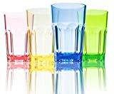 290 ML Farbigen 4-er Set Glaser Wassergläser Plastikbecher Trinkgläser Trinkbecher Longdrinkgläser Cocktailgläser Kinder Becher Saftgläser