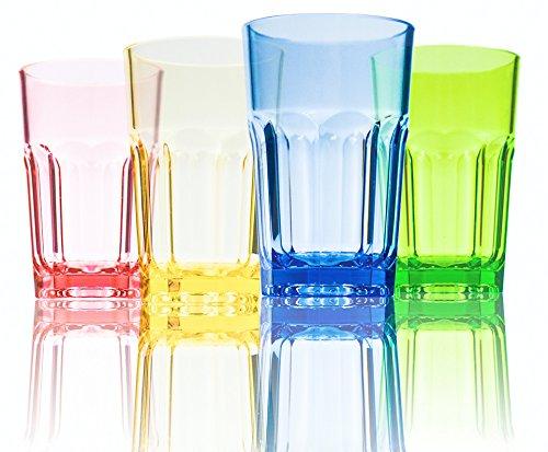 Urmelody 290 ml de color acrílico vasos irrompible vasos reciclado copas de vino tritan inastillable plástico dinkware, Assorted Colors, 4 unidades