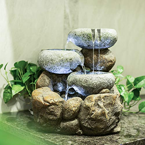 CYA-DECOR Rock Water Fountain, 4 Tiers Waterfall Fountains with LED Lights, 16 Inches Height