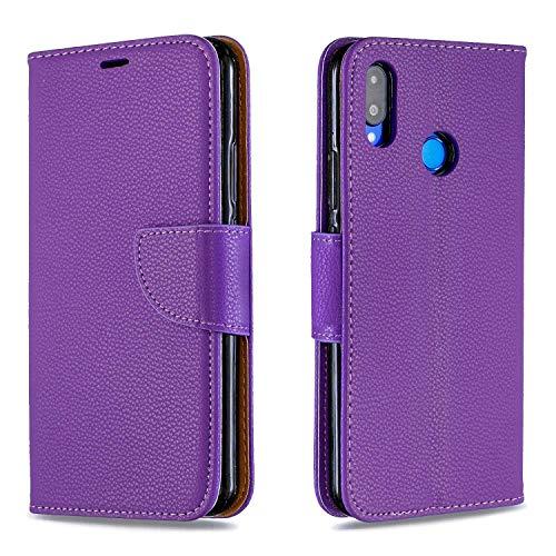Grandcaser Capa para carteira P Smart+ (Nova 3i) ultrafina com estampa magnética de lichia de couro PU com suporte à prova de choque capa protetora para Huawei P Smart+ (Nova 3i) 6,3 polegadas - Roxo