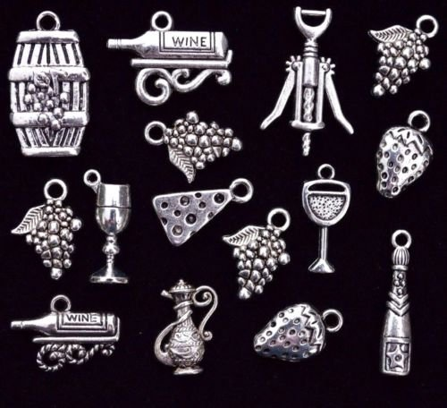 15pc Wine &, Cheese Charm Set, Size 18mm to 27mm, Tibetan, Grape Glass Barrel Jewelry Making Supply Charm, Bracelets and More by Wholesale Charms