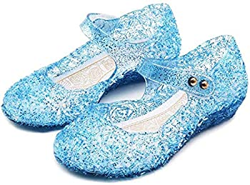 Amtidy Frozen Inspired Elsa Flats Mary Jane Dance Party Cosplay Shoes Snow Queen Princess Birthday Sandals for Little Girls Toddler Blue 6M Toddler