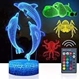 4 PCS 3D Dolphins Night Light, Cool 3D Dolphins Lamp, Beautiful Remote Control 16 Color Changing Dolphins Light, Dolphins Gift, Kids Toys Birthday Xmas Gift, Including DIY Gift Packaging Materials