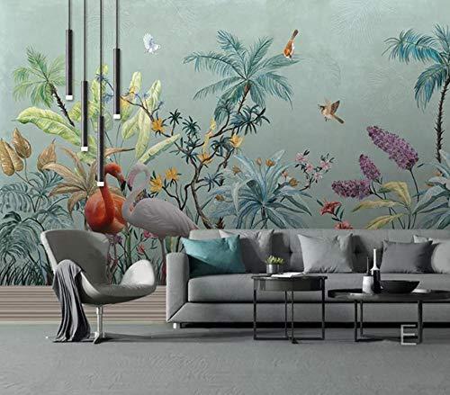 Wandmuurschildering tropische regenwoud bloemen en vogels foto behang niet-geweven reus muur poster huis Deco 140x100CM