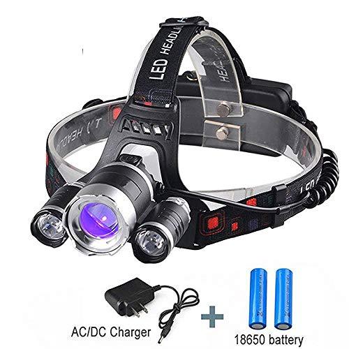 XWYWP Stirnlampe Multifunktionale Kopflampe LED Angeln Licht Ultraviolett Uv Zoomable Scheinwerfer Taschenlampe Laterne Fackel Kopflampe Black