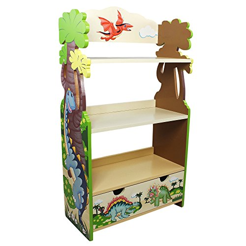 Fantasy Fields - Dinosaur Kingdom Thematic Kids Wooden Bookcase with 3-Tier Shelf and 1 Storage Drawer | Imagination Inspiring Hand Crafted & Painted | Non-Toxic, Lead Free Water-Based Paint