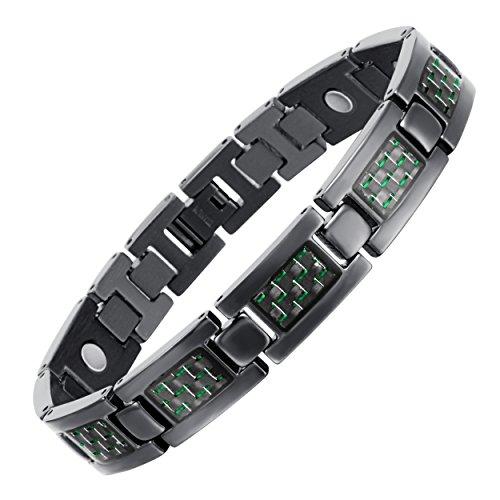 rainso Männer Schwarz Titan Armband mit Geschenkbeutel