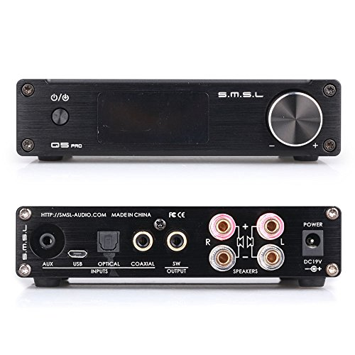 SMSL Q5 Pro HiFi Integrated Mini Digital Stereo Audio 45WPC Pure Digital Amplifier AMP USB Coaxial OPT 3.5mm Headphone Jack Input + Remote Control + Power Supply Adapter